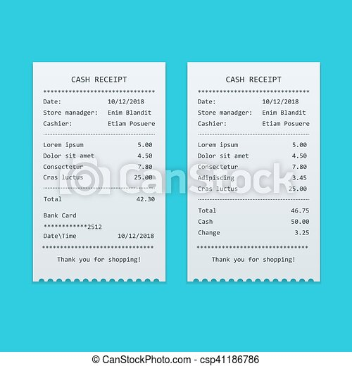 set paper check and financial check isolated sales printed receipt