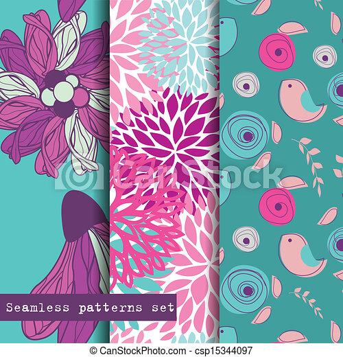 set, pattern., seamless, theme., drie, bloemen, vogels - csp15344097