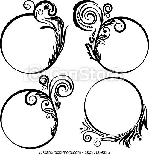Set patterned round frames. Set round frame with decorative elements ...