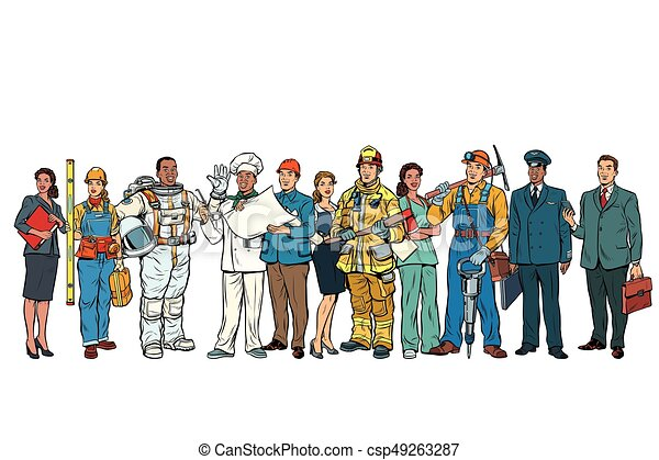 Set people of different professions standing in a row on white b - csp49263287