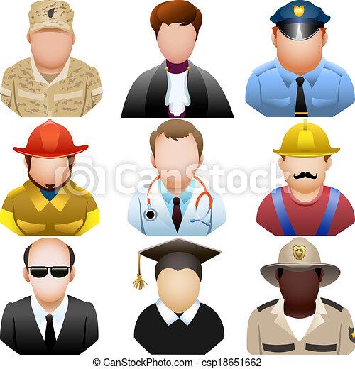 set, persone, icona, uniforme - csp18651662
