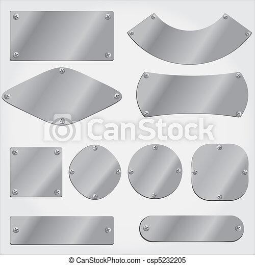 set, piastre, oggetti, metallo, raggruppato - csp5232205