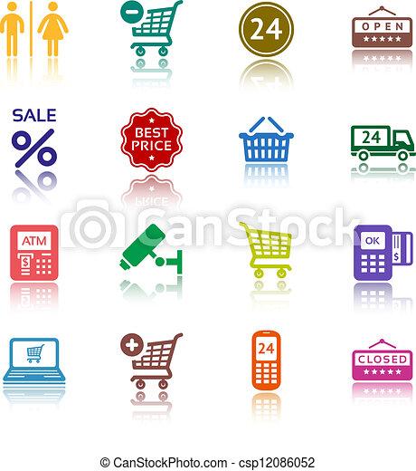 Set pictograms supermarket services, Shopping colour icons - csp12086052