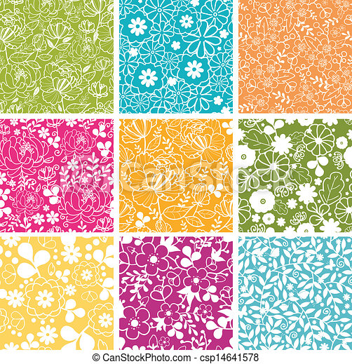 set, primavera, sfondi, seamless, modelli, nove, fiori - csp14641578