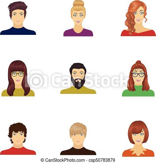 low priced db0c3 bee20 set, ragazza, stile, icone, face., altro, casato, web., simbolo, calvo,  occhiali, collezione, illustrazione, cartone animato, acconciatura, uomo,  ...