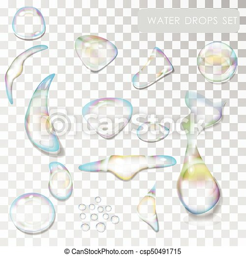 Set realistic drops with reflections isolated on a transparent background - csp50491715