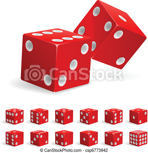 Set realistic red dice - csp6773942