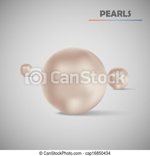 Set realistic vector pearls - csp16850434