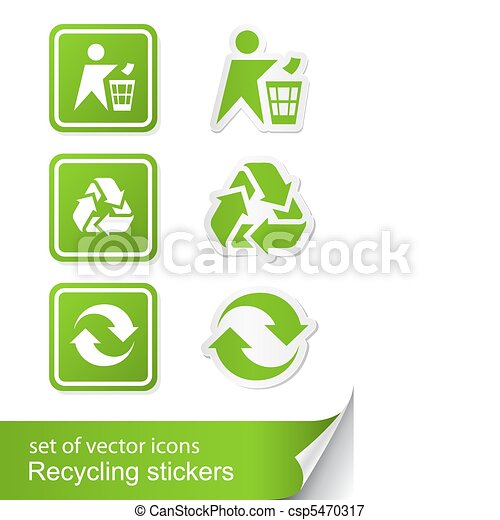 set recycling sign icon sticker - csp5470317