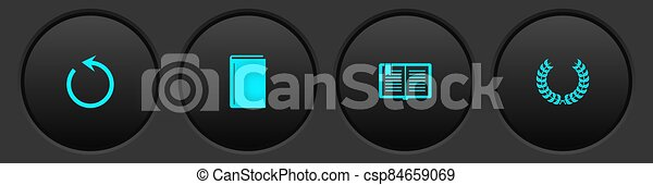 Set Refresh, Book, Open book and Laurel wreath icon. Vector - csp84659069