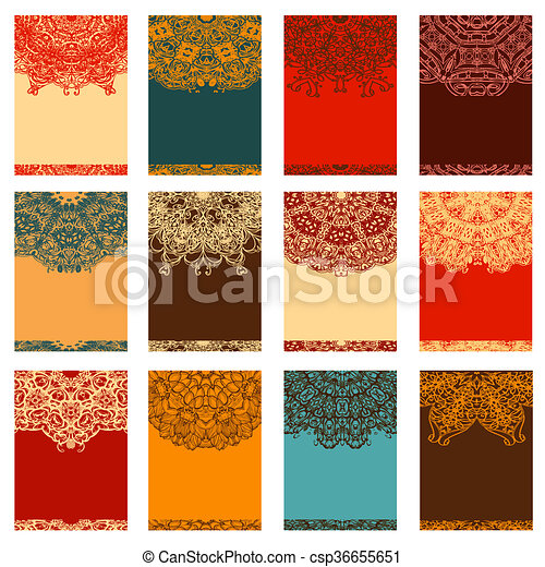 Set Retro Business Invitation Card Vintage Decorative Elements Hand Drawn Background Islam Arabic Indian Ottoman Motifs