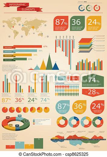set., retro, infographics - csp8625325