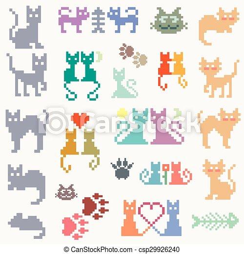 Set retro pixel cat - csp29926240