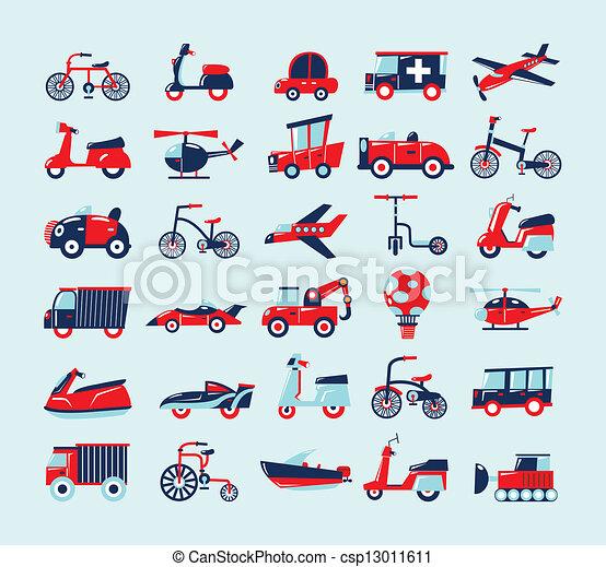 set, retro, vervoeren, iconen - csp13011611