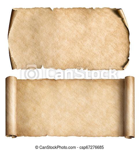 set, rollen, ouderwetse , vrijstaand, of, papier, witte , perkament - csp67276685