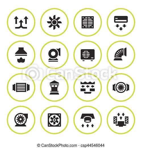 Set round icons of ventilation and conditioning - csp44546044