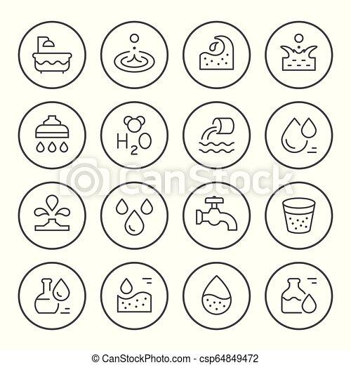 Set round line icons of water - csp64849472