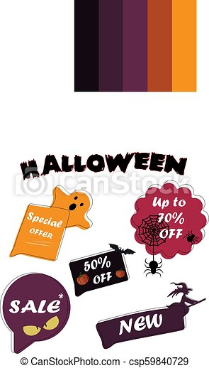 Set Sale speech bubble banners, discount tags design template, app icons,  vector illustration  Halloween special