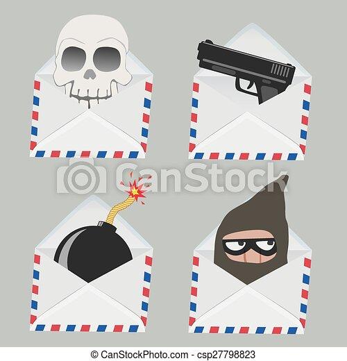 set, schedel, binnen, enveloppe, dief, witte  - csp27798823