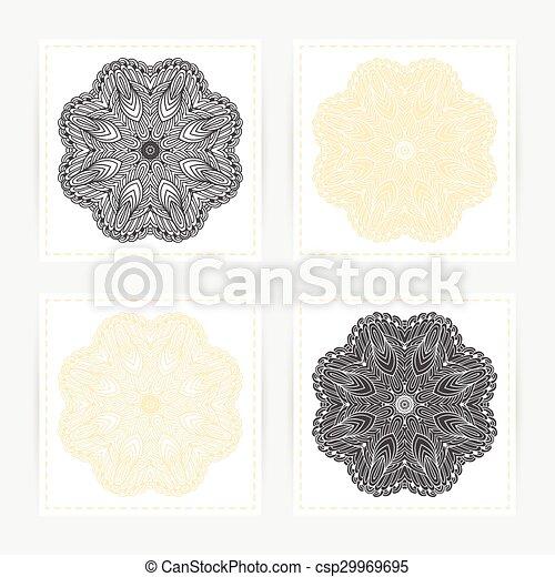 set, schets, model, ornament., hand, mandala., mal, doodle, kaarten, getrokken, geometrisch, ronde - csp29969695