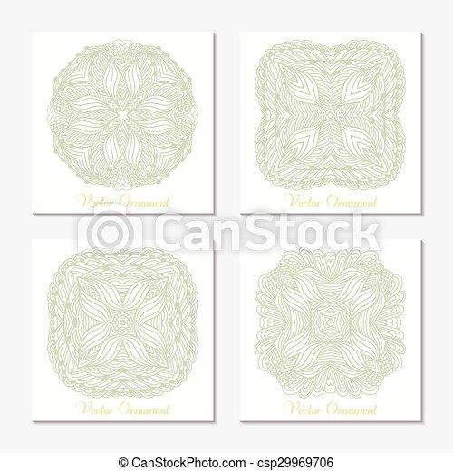 set, schets, model, ornament., hand, mandala., mal, doodle, kaarten, getrokken, geometrisch, ronde - csp29969706