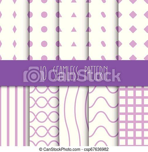 set, seamless, motieven, achtergrond, geometrisch, witte  - csp67636982