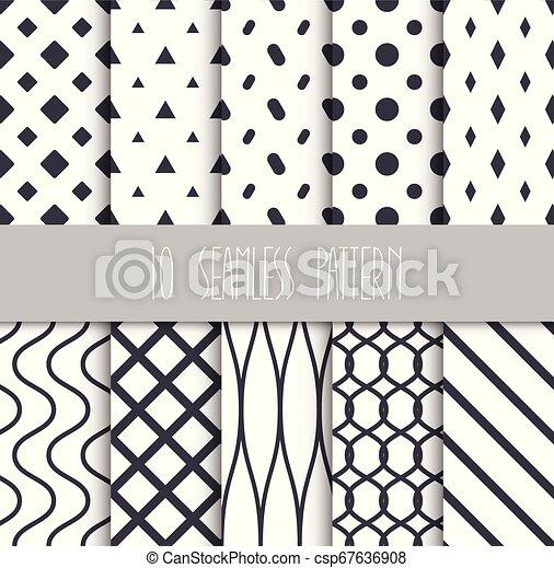 set, seamless, motieven, achtergrond, geometrisch, witte  - csp67636908