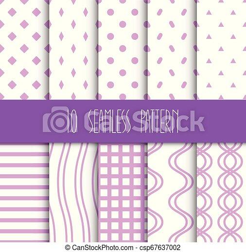 set, seamless, motieven, achtergrond, geometrisch, witte  - csp67637002