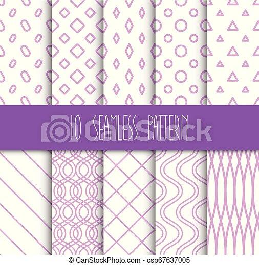 set, seamless, motieven, achtergrond, geometrisch, witte  - csp67637005