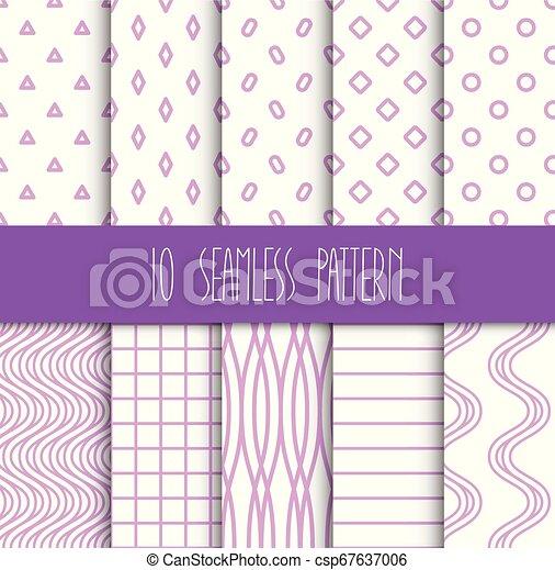 set, seamless, motieven, achtergrond, geometrisch, witte  - csp67637006