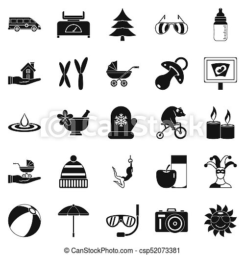 set, semplice, stile, rilassamento, icone - csp52073381