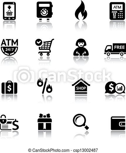 Set shopping icons - csp13002487