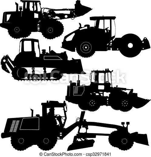 Set Silhouettes Road Construction Equipment Vector Illustration