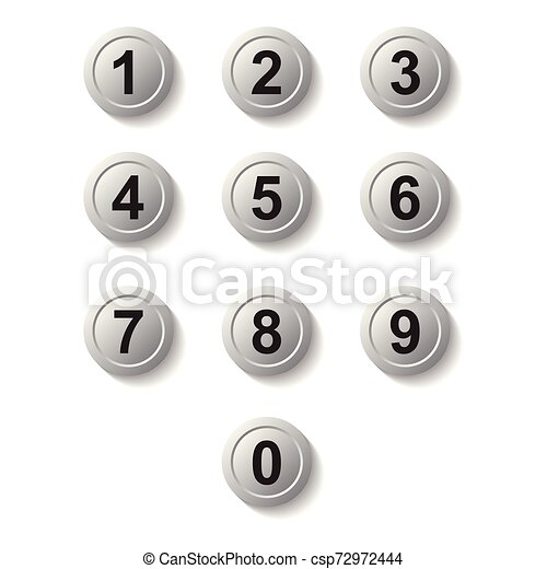 Set silver number button icon with shadow - csp72972444
