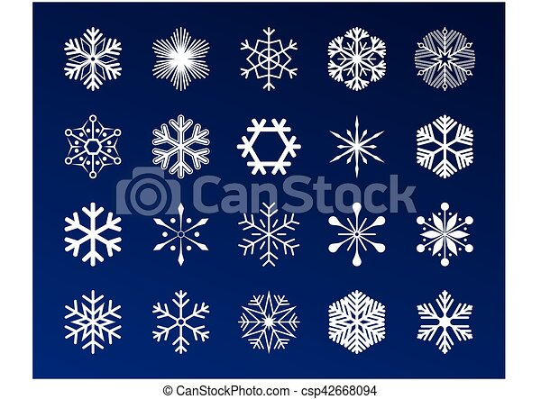 Set snowflakes icons vector illustration on blue background. - csp42668094