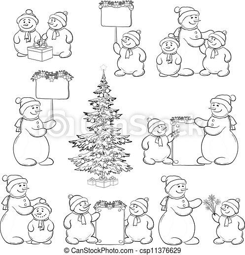 Set Snowman And Christmas Tree Outline Christmas Tree And Set