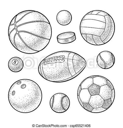 Set Sport Balls Icons Engraving Black Illustration Isolated On White Set Different Kinds Sport Balls Icons Engraving