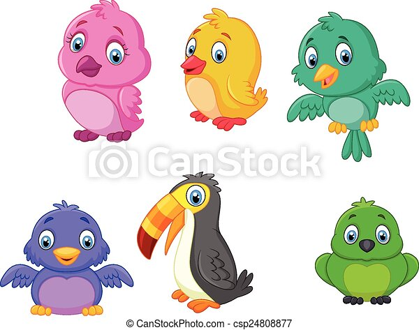 set, spotprent, verzameling, vogels - csp24808877