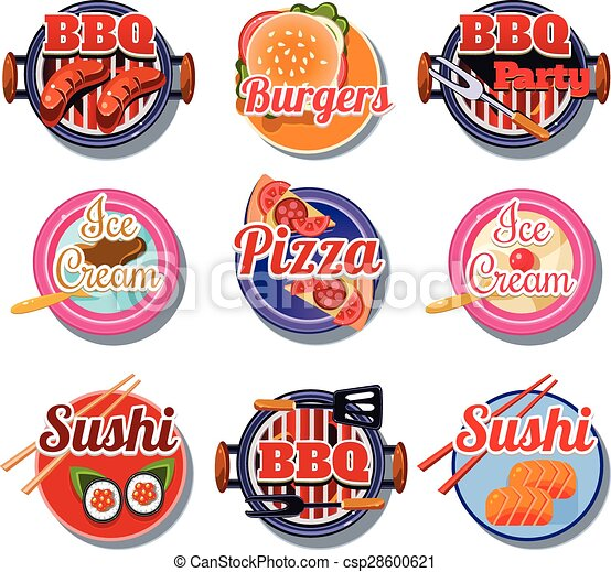 set stickers of food set of stickers of food vector vector rh canstockphoto co uk planner stickers clipart sticker clip art free