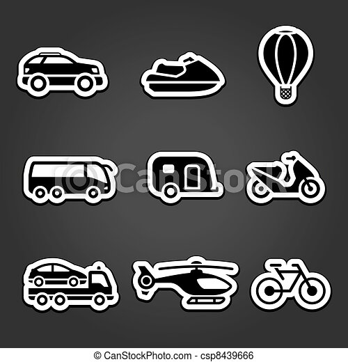 Set stickers transport icons - csp8439666