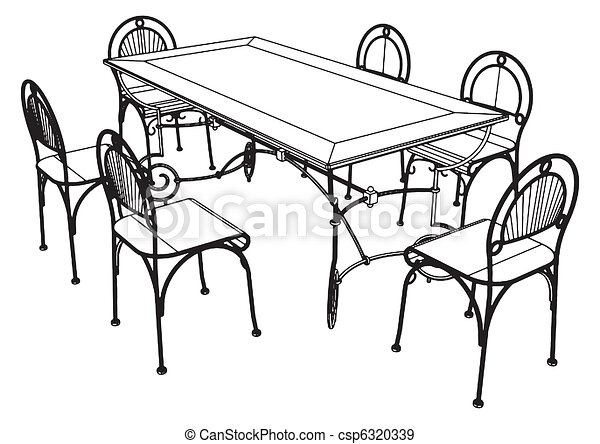 Set table and chairs vector eps vectors - Search Clip Art ...