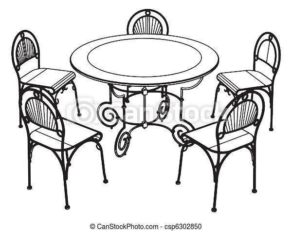 Vector Clipart Of Set Table And Chairs Vector Csp Search - Table and chairs clipart