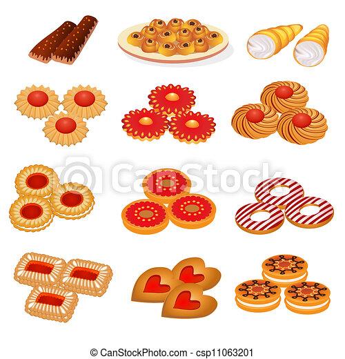 set tasty sand cookies and cake - csp11063201