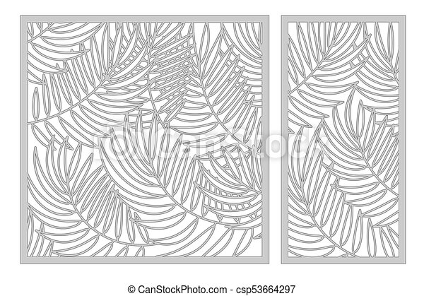 Set Template For Cutting Palm Leaves Pattern Laser Cut Ratio 11 12 Vector Illustration