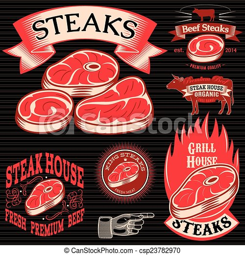 set template for grilling, barbecue, steak house, menu - csp23782970