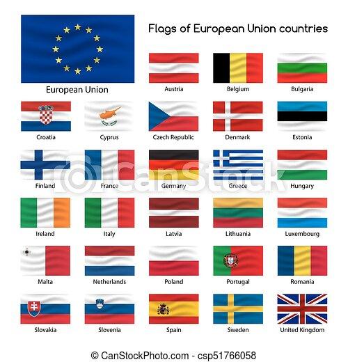 Set The Flags Of European Union Countries Member States Of Eu