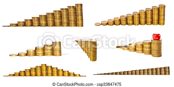 Set the stack of coins isolated on white background - csp33847475