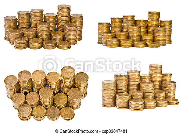 Set the stack of coins isolated on white background - csp33847481