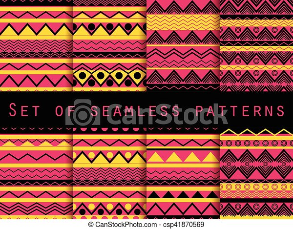 Set the texture seamless in ethnic style. Tribal seamless texture. Seamless pattern in hippie style. For wallpaper, bed linen, tiles, fabrics, backgrounds. Vector illustration. - csp41870569