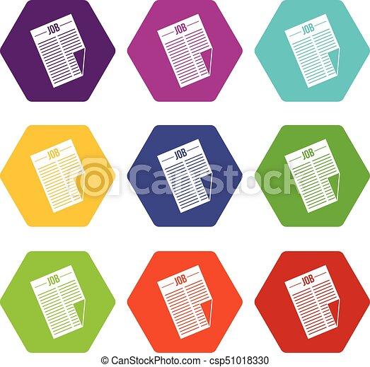 set, titolo, hexahedron, colorare, lavoro, giornale, icona - csp51018330